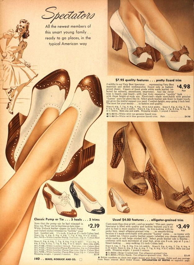 1940s shoe ad (1942) Love the bottom right shoes with the bows. Practical and feminine- just what you need for war time.