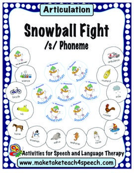 It's a good old-fashioned snowball fight! Activity for practicing the /s/ phoneme in all word positions.
