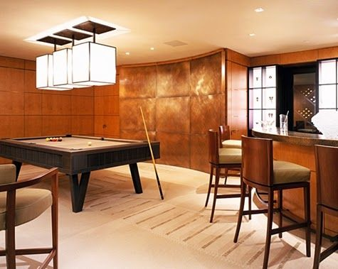 Game Room with Mini Bar and Wooden Billiard Table Chandelier Lighting Wood Tile Wall and Wood Tile Floor