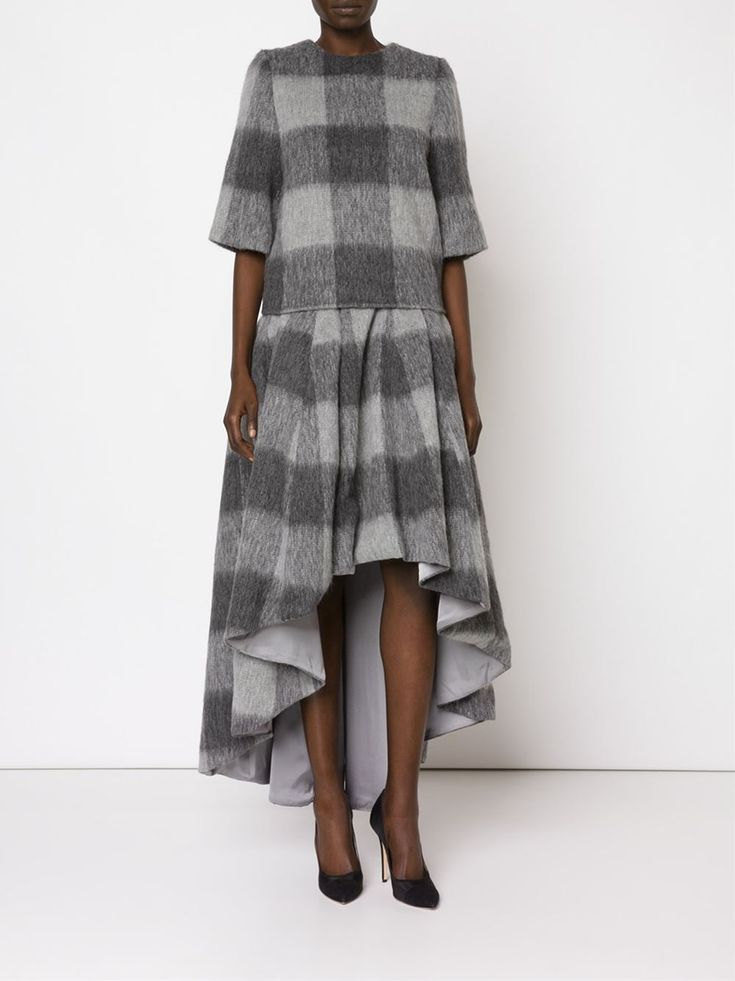 Dominic Louis, checkered flannel: tee, skirt.
