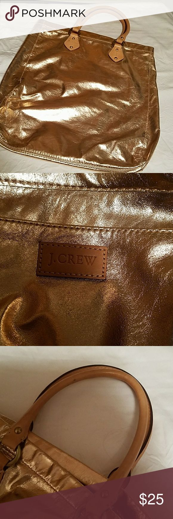 "J crew  rosegold tote.. Good use condition..only problem has a rub/discoloration in one spot see last 2  pictures fir ref.size is 15""x15"". j crew  Bags Totes"