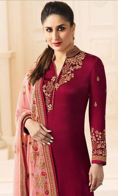 Maroon Straight Churidar Salwar Suit -