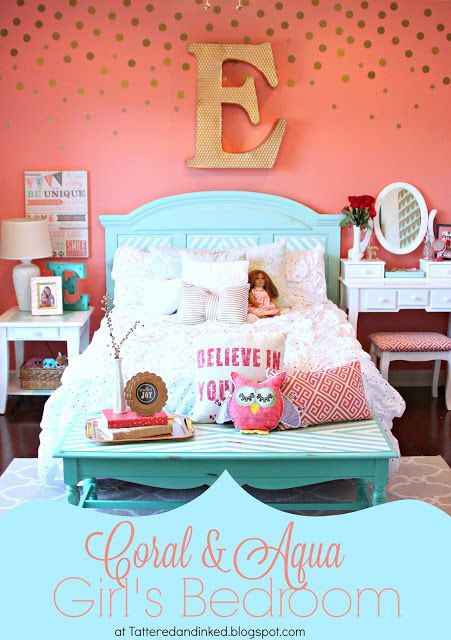 Tattered and Inked: Coral & Aqua Girl's Room Makeover