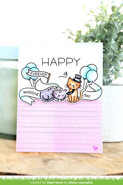 the Lawn Fawn blog: Lawn Fawn + Xyron Hop Week - Meow You Doin' Wedding Card by Elena Roussakis.