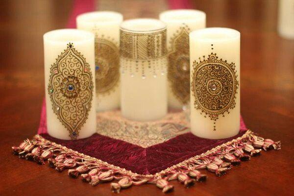 Pretty glam thali. Taal. Wedding. Candle.