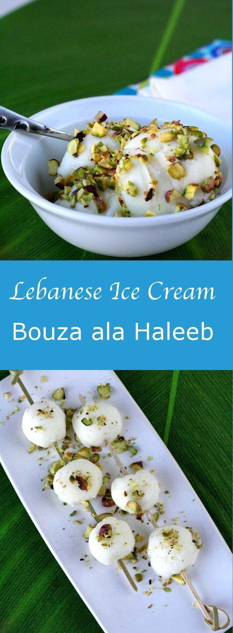 Bouza ala haleeb is a delicious traditional Lebanese ice cream made with salep and mastic and flavored with orange blossom water. #196flavors