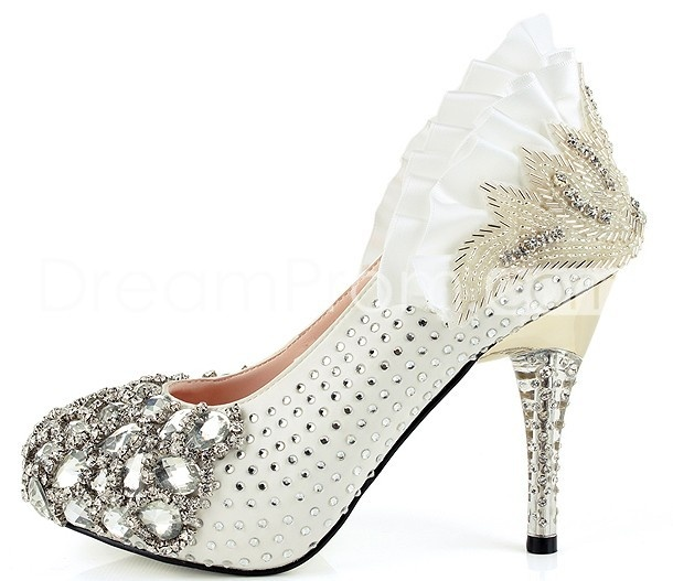 Perfect White Rhinestone Wedding Shoes