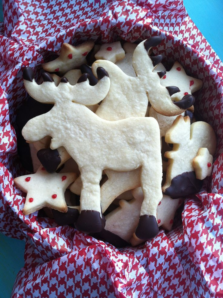 Finished holiday moose cookies! Ikea animal cookie cutters used to cut sugar butter cookies. Dipped the moose hoof in chocolate, once dried I dipped the tips of their antlers too. Dipped the fox's tail, squirrel's feet, and bear's ear. Added some stars into the tin and DONE for kid's bake sale :)
