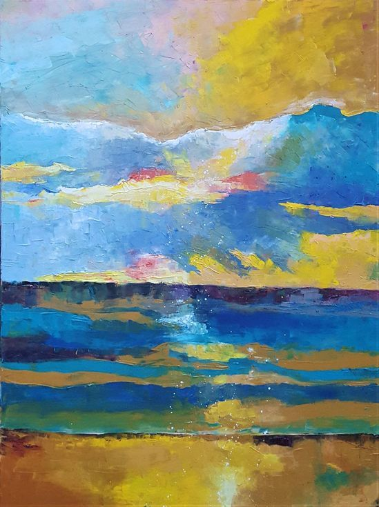 Buy Abstract Landscape (90x120cm), Oil painting by Simon Tünde on Artfinder. The rhythm of blue and yellow play in this picture.
