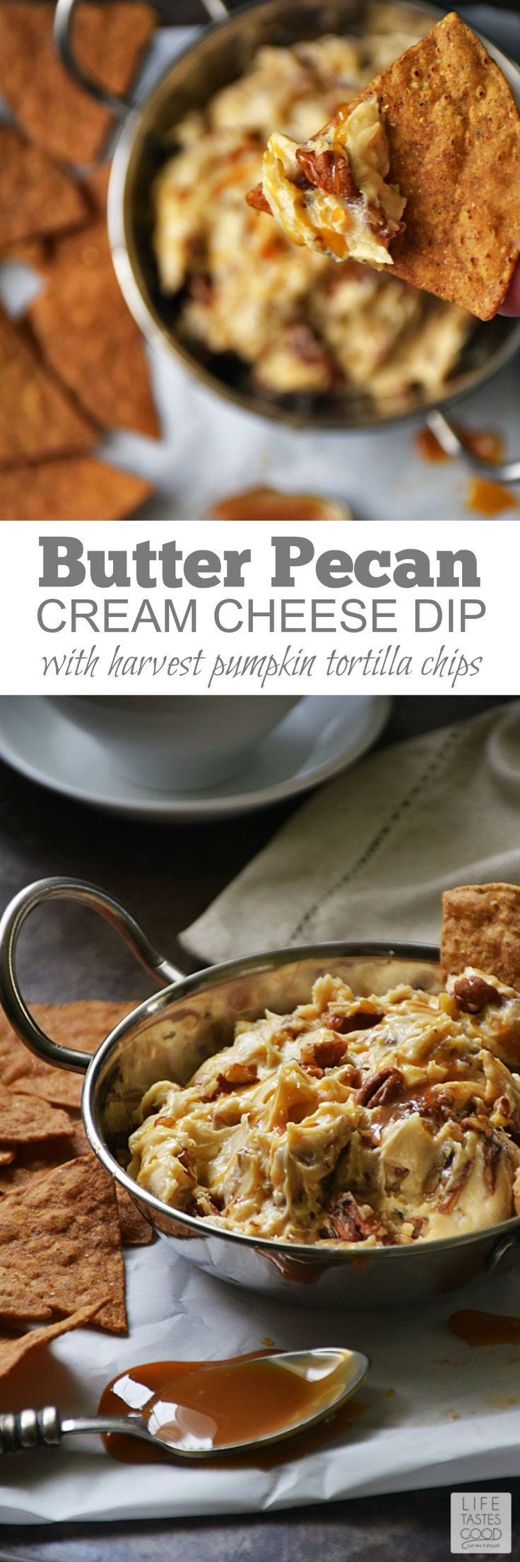Butter Pecan Cream Cheese Dip | by Life Tastes Good with Harvest Pumpkin Tortilla Chips is like eating a creamy Pumpkin Pecan Pie, only better, because this sweet treat is super easy to make! #sponsored #LTGrecipes #FoodShouldTasteGood #dessertdip #butterpecan