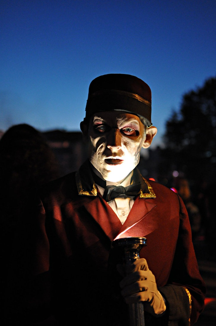 """HHN XX, Universal Studios Florida    The Usher collects tickets in Halloween Horror Nights XX's """"Fear Revealed"""" scarezone.    Photo by Emily Fidler Photography."""