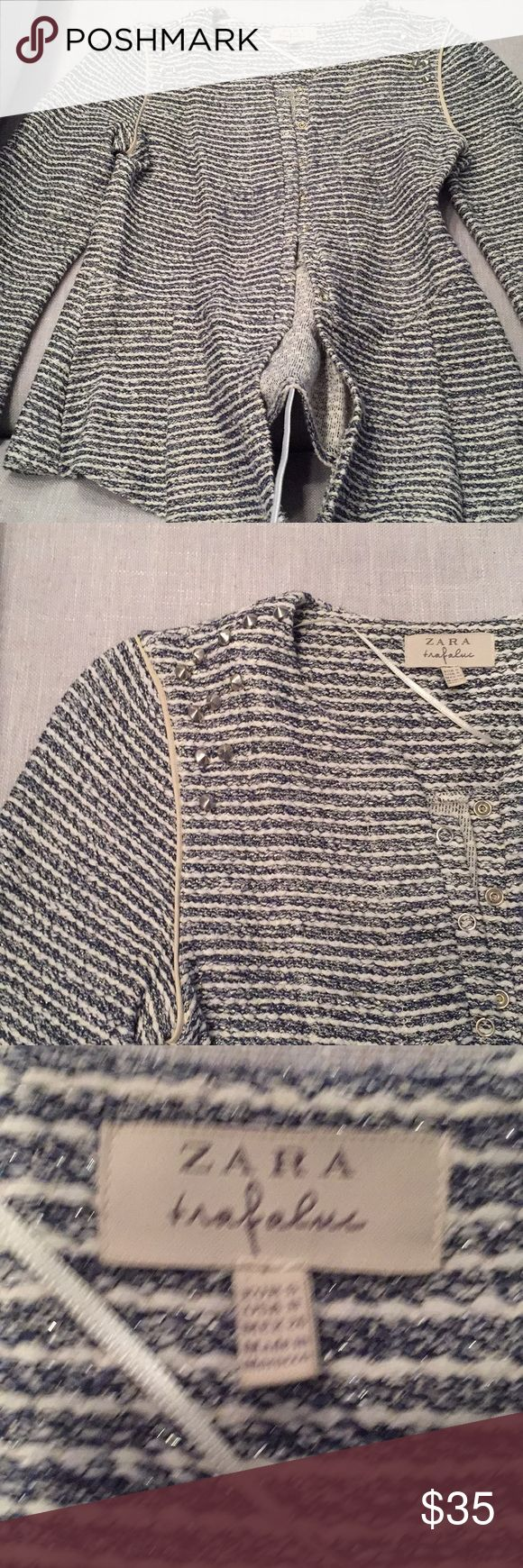 Zara cardigan. Navy and white with silver. S Zara cardigan. Navy and white with silver threading. Silver stud hardware at shoulder. Size S. a little flare it bottom. Zara Sweaters Cardigans