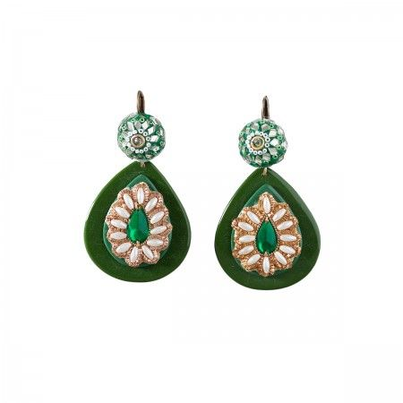 Lacrom Store || Ghingi Mingi Goi, Accessories, Earrings  Earrings made of bakelite with adorning vintage embroidery.