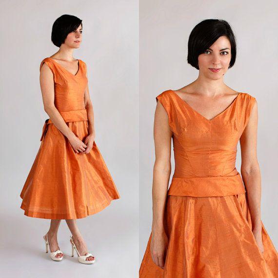 1950s Orange Party Dress / Vintage Bridesmaid Silk Dress