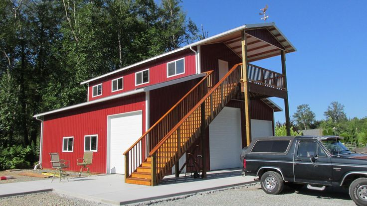 Monitor-style garage/shop with living quarters above in Skagit County, WA. Built by Spane Buildings of Mount Vernon, WA http://www.spane.com/garage-builder