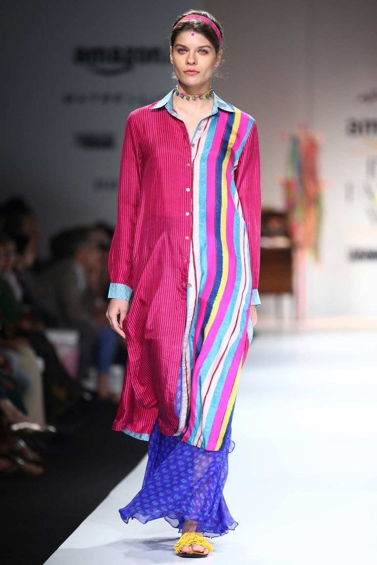 Pink and multicolour hand block printed tunic available only at Pernia's Pop Up Shop#perniaspopupshop #shopnow #newcollection #straightofftherunway #aifwss16 #festive #clothing #designer #shopnow  #anupamadayal
