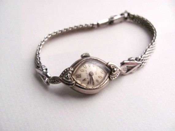 Antique womens Bulova watch bracelet, 10k rolled gold plate, white gold, silver tone via Etsy