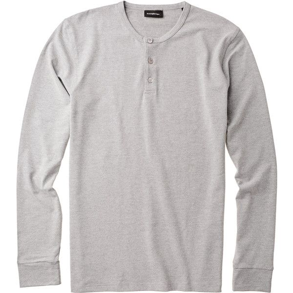 Cotton Blend Henley (€115) ❤ liked on Polyvore featuring men's fashion, men's clothing, men's shirts, men's casual shirts, mens long sleeve shirts, mens henley shirts, mens longsleeve shirts, mens casual long sleeve shirts and mens long sleeve henley shirts