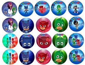 PJ MASK  Edible Images Cupcake Cookie Toppers and by Partytime365