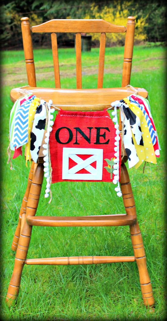 Farm theme birthday banner/high chair by PrettyLittleClippie
