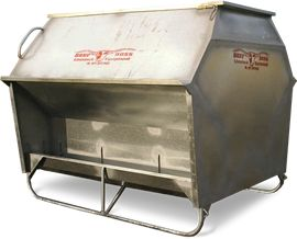 Double sided grain feeder. Hans Trailers and Beef Boss Livestock Equipment for sale.
