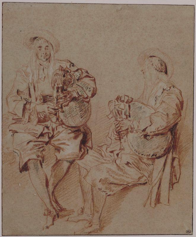 Antoine Watteau, Deux études d'un joueur de musette, Trois crayons, Paris, Musée du Louvre, D.A.G © RMN-Grand Palais (Musée du Louvre) / Michèle Bellot.