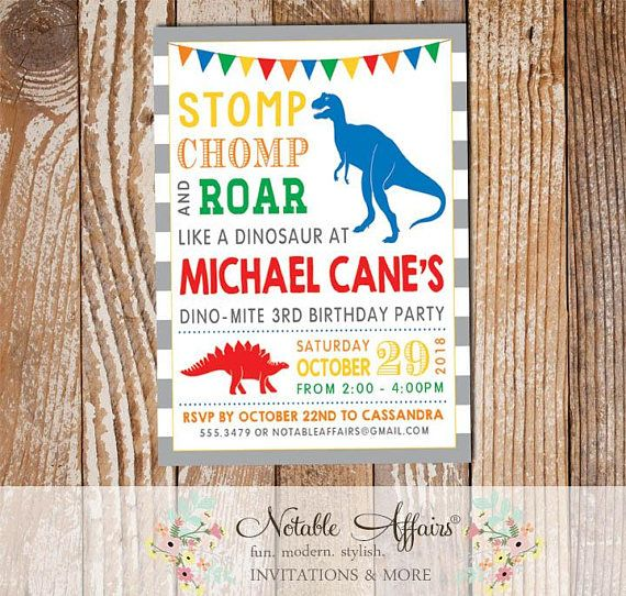 Stomp Chomp Roar Like a Dinosaur Gray Stripes Boy Birthday Invitation - Dinosaur Party - Dinomite Dinosaur Birthday Party - any age by NotableAffairs