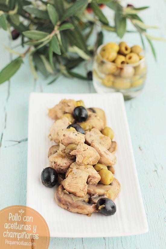 Pollo con champiñones y aceitunas, ¡exquisito!