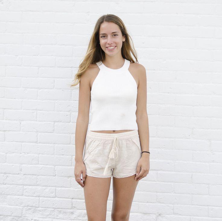 Nude Lace Trim Shorts