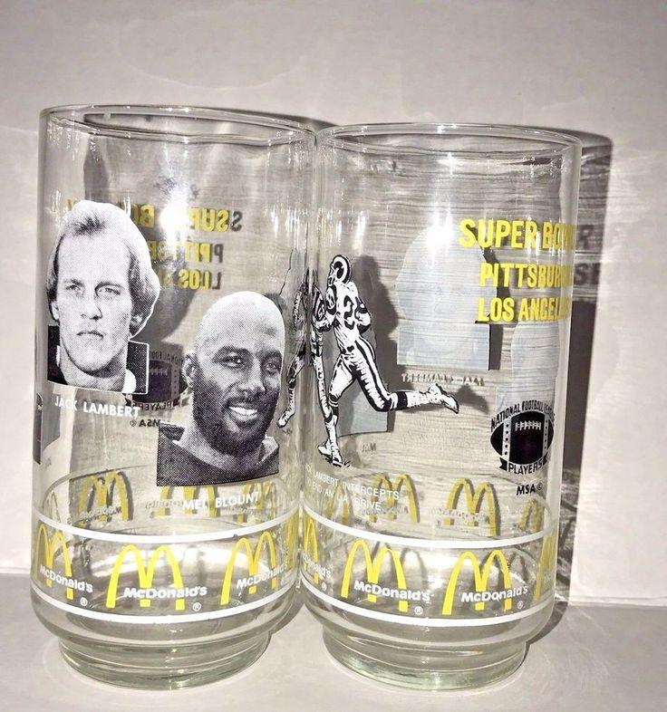 2 Glasses Pittsburgh Steeler Super Bowl XIV Kolb Lambert Blount McDonald's 1980 #McDonalds #PittsburghSteelers