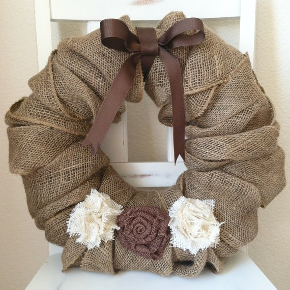 Burlap Wreath with Bow and Shabby Chic by MaesieGraceCreations, $40.00