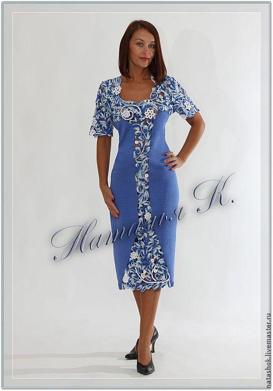 Купить Платье Метелица - синий, кружево, ирландское кружево, ирландское вязание, ирландия, авторская работа