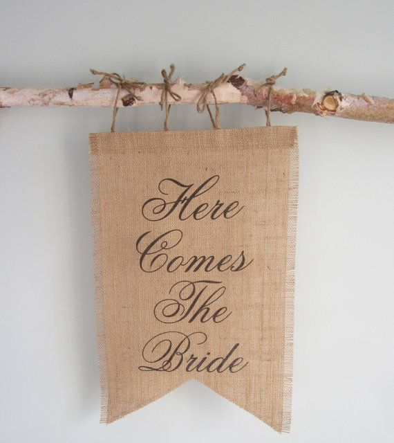 DIY?  Here Comes The Bride Sign - Burlap Banner Wedding Sign - Customize With Your Choice of Font or Wording - Flower Girl Sign on Etsy, £19.00