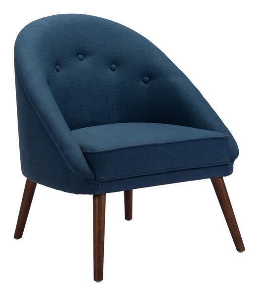 Carter Accent Chair in Cobalt Blue Linen Blend Fabric on Wood Legs