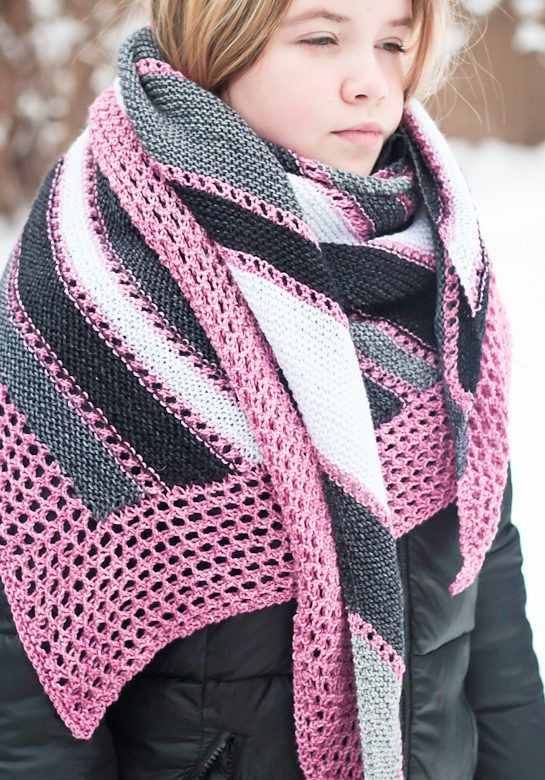 Free Knitting Pattern for Anything Goes Shawl - Triangle-shaped shawl is a combination of lace and garter stitch bands. You can make your bands as wide as you like or as narrow as you like, or mix and match the widths so it's perfect for stash yarn. Designed by Elena Nodel