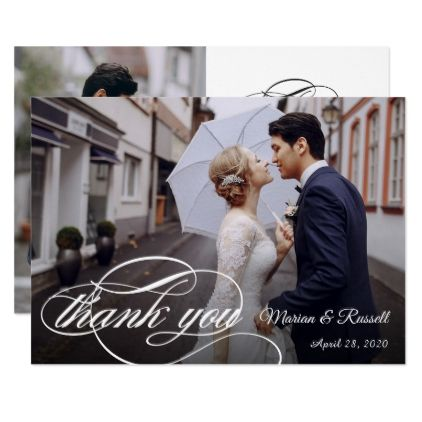 Stylish White Calligraphy Wedding Photo Thank You Card Modern