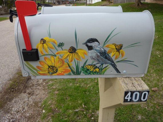 Mailbox with bird  & flowers Custom handpainted by OlenkasArt