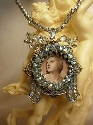 Religious French Icon pendant Necklace Aurora borealis frame