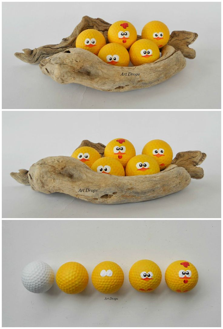 A nice and funny way to upcycled some old golf balls into cute little chicks, perfect for coming easter :) What you'll need: Some old golf balls, Sandpaper