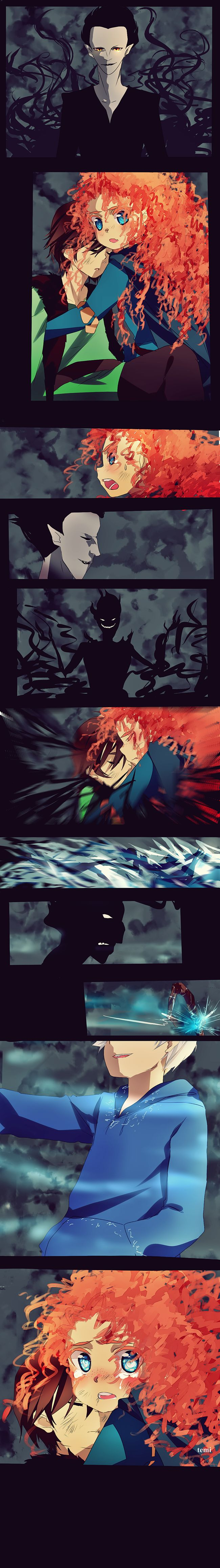 rotbtd comic by ~temiji on deviantART. THIS IS SO AWESOME KNVFGNLJVDDGJKKHDR IT'S A MIX OF MY FAVE ANIMATED MOVIES!!! *dies*
