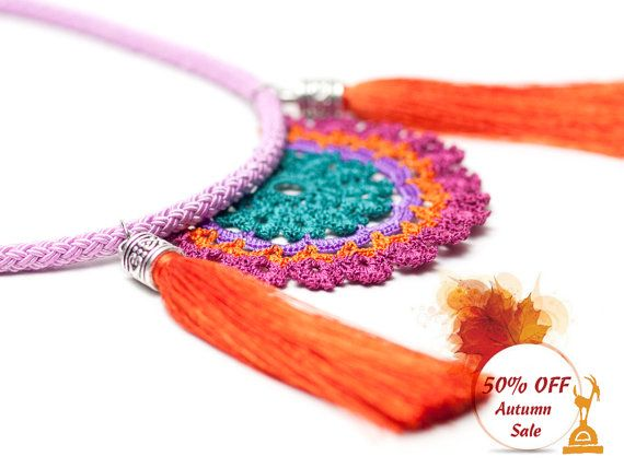 Bohemian Handmade Crochet Tassel Necklace,Tribal Ethnic Fringe Statement Jewelry,Pink Green Orange Purple,Fiber Art  ALL Pinara Design jewelries are INCREDIBLY lightweight!! You wont even know youre wearing them (except youll look AMAZING)!!!!  For all my designs, I use an ancient Anatolian lace technique that dates back thousands of years and use very slim high quality embroidery thread. Every mm is original and handmade by me, no machine are involved. It's just me and my hook. This elegant…