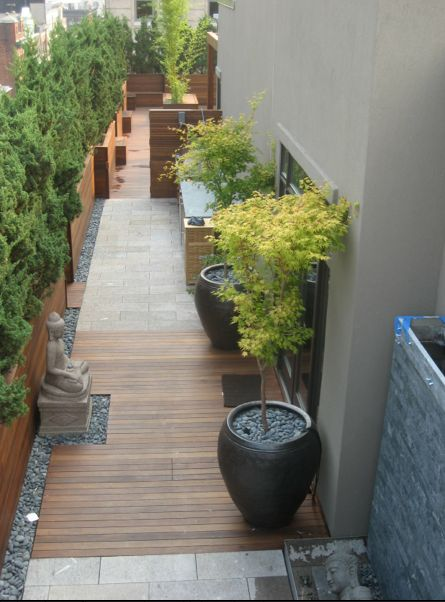 continue the theme from the side patio to the back