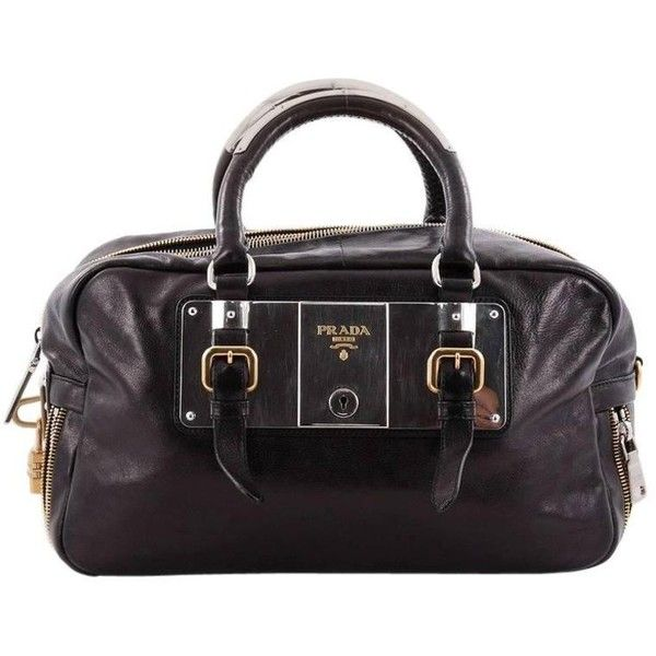 Preowned Prada Lock Plate Zippers Satchel Glace Calf Large ($575) ❤ liked on Polyvore featuring bags, handbags, multiple, top handle bags, preowned handbags, zip zip satchel, zip lock bags, buckle handbags and prada satchel