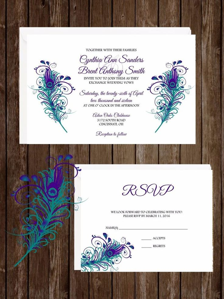 Wedding Invitations Peacock Feathers 50 Invitations U0026 RSVP Cards Any Colors