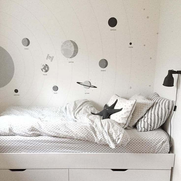Lately I've been designing a few new wall murals for @photowall_sweden. My oldest son is fascinated by the solar system and outer space, so this design was made with love for my little man. Image by @mel.oh.berry #kidsroom #wallpaper #wallmural #plantes #spaces #barnrum #tapet #rymden #scandinaviandesign #photowallsweden