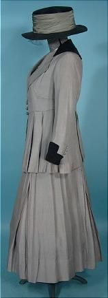 "circa 1915 Gray Silk ""Suffragette"" Suit with White Embroidered Blouse and Hat"