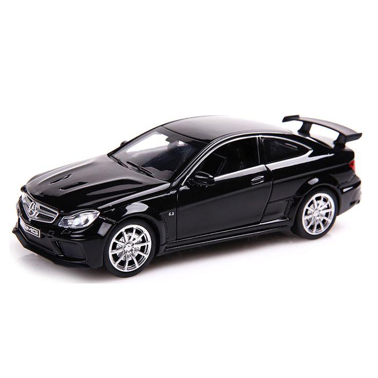 C63 Diecast Legering Speelgoed Metalen Auto 1:32 Schaal Simulatie Pull Back Auto Model met Geluid en Licht Kinderen Collectie Auto speelgoed