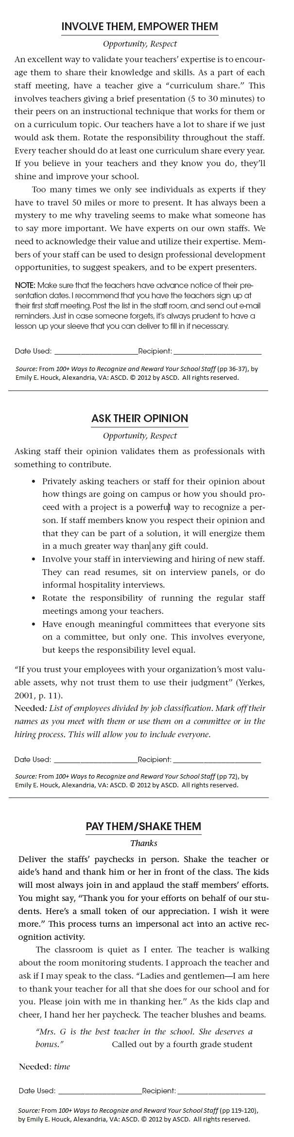 An excerpt from 100+ Ways to Recognize and Reward Your School Staff by Emily Houck