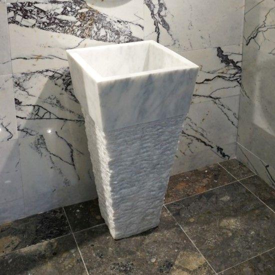 Buhara Carrera White Marble Free Standing Basin (DLT710-15)