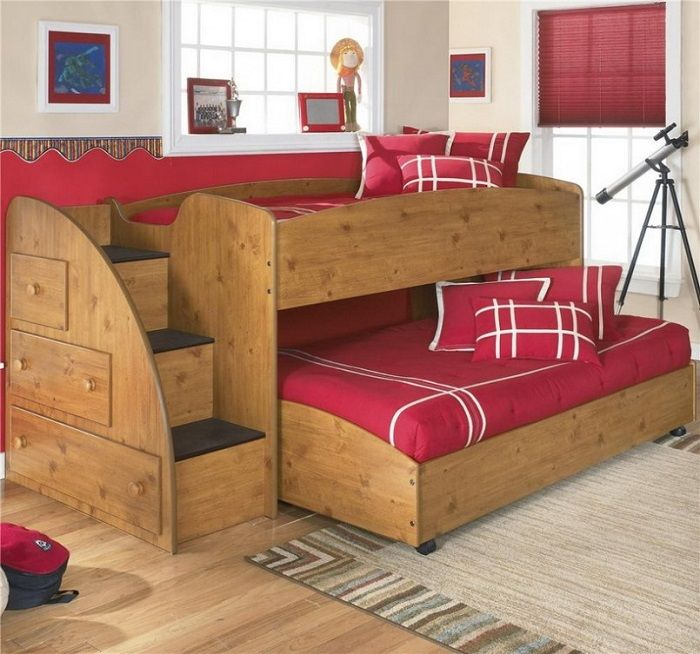 Beautiful Kids Bunk Bed Design Ideas With Drawer And Red Roll Curtain Feat Brown Carpet Inspirations Of Cute Child Furniture Triple